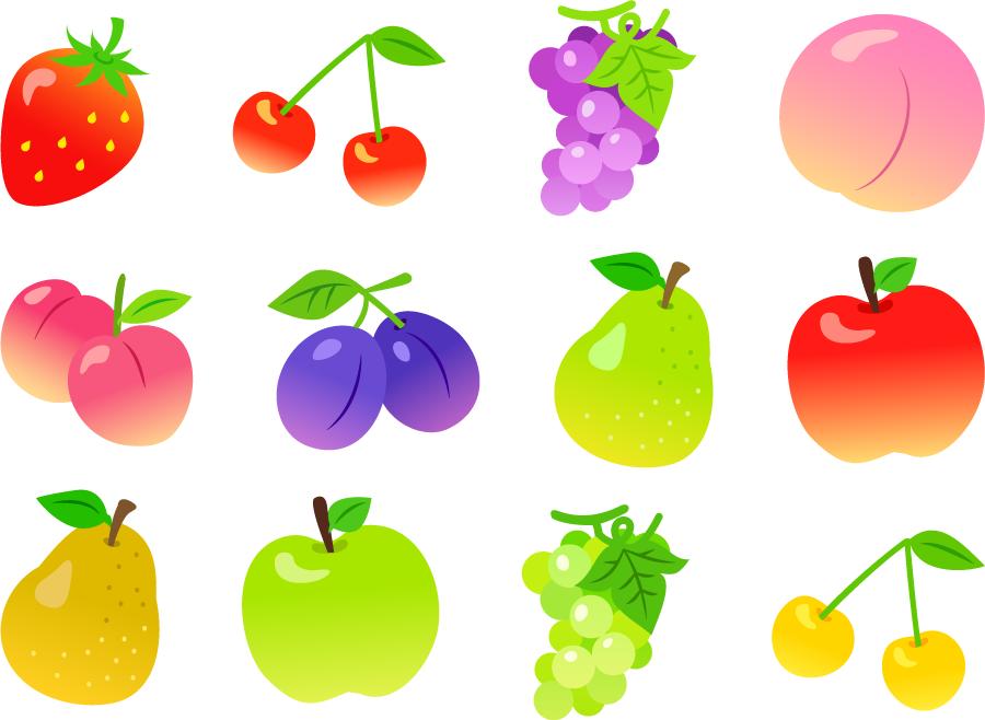 フリーイラスト ブドウやリンゴやモモなどの12種類のフルーツのセット