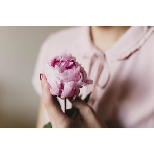 フリー写真, 人物, 女性, 人と花, 植物, 花, 芍薬(シャクヤク), ピンク色の花