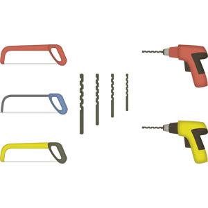 フリーイラスト, ベクター画像, AI, 工具, 鋸(のこぎり), 糸鋸(糸のこ), 電動ドリル(電気ドリル)