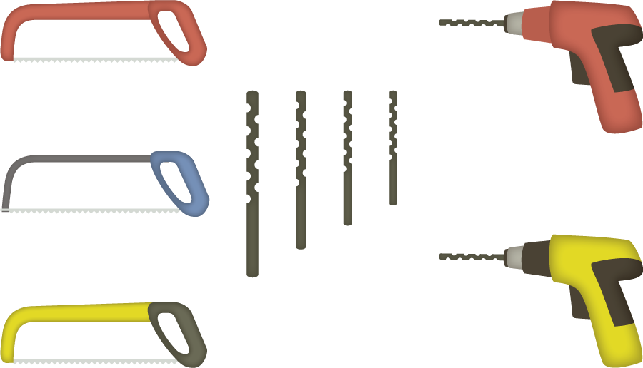 フリーイラスト 6種類の糸鋸と電動ドリルのセット