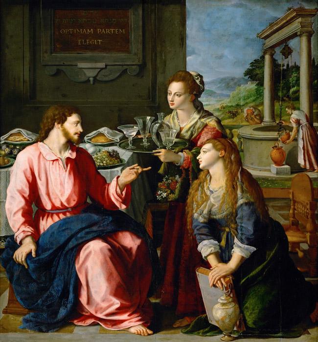 フリー絵画 アレッサンドロ・アッローリ作「キリストといるマルタとマリア」