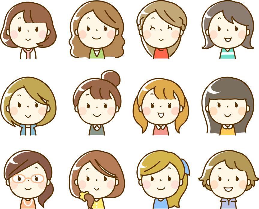 フリーイラスト 12人の女性のセット