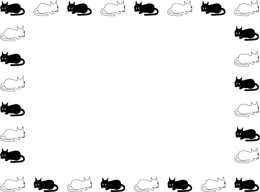 フリーイラスト 白猫と黒猫の飾り枠