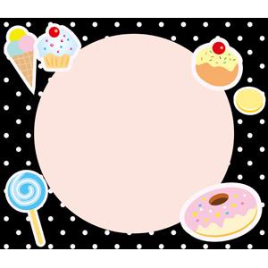 フリーイラスト, ベクター画像, EPS, 背景, フレーム, 円形フレーム, 食べ物(食料), 菓子, 洋菓子, スイーツ, カップケーキ, アイスクリーム, 飴(キャンディ), ドーナツ