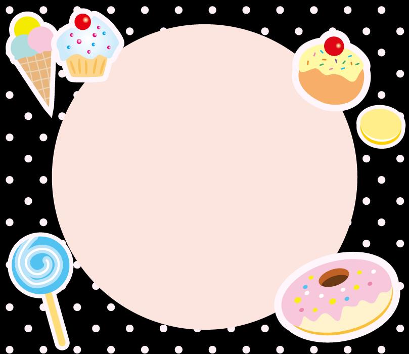 フリーイラスト 洋菓子の円形フレーム
