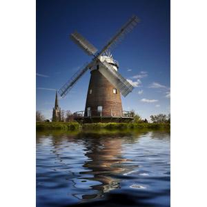 フリー写真, 風景, 建造物, 建築物, 風車, 河川