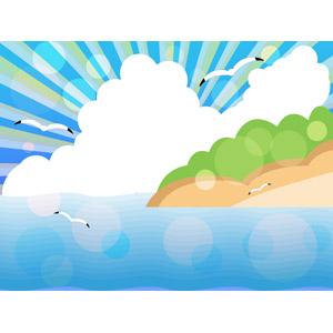 フリーイラスト, ベクター画像, EPS, 背景, 海, 島, 積乱雲(入道雲), 夏, 放射線状, 鴎(カモメ)