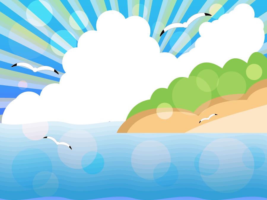 フリーイラスト カモメが飛ぶ夏の海の背景