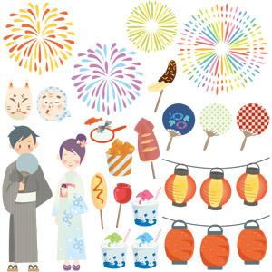 フリーイラスト, ベクター画像, EPS, 年中行事, お祭り, 夏祭り, 打ち上げ花火, 狐面, お面, ひょっとこ, 浴衣, うちわ, 提灯, かき氷, チョコバナナ, 金魚すくい, いか焼き, りんご飴, アメリカンドッグ, 縁日