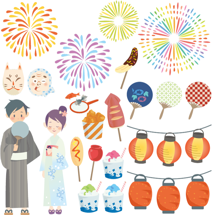 フリーイラスト 夏祭り関連の素材セット