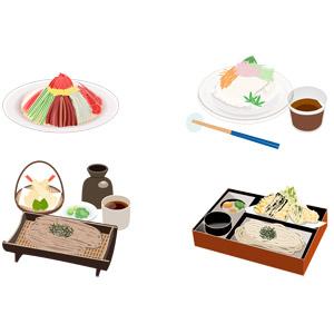 フリーイラスト, ベクター画像, AI, 食べ物(食料), 料理, 麺類, 日本料理, 冷やし中華, 和食, そうめん, 蕎麦(ソバ), ざるそば(もりそば), うどん, 天ぷら, 夏