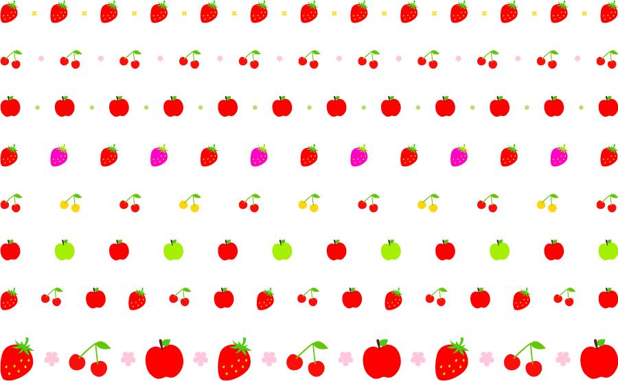 フリーイラスト イチゴとサクランボとリンゴのラインのセット