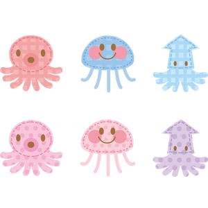 フリーイラスト, ベクター画像, AI, アップリケ(ワッペン), 動物, 軟体動物, 蛸(タコ), 烏賊(イカ), 刺胞動物, 海月(クラゲ)