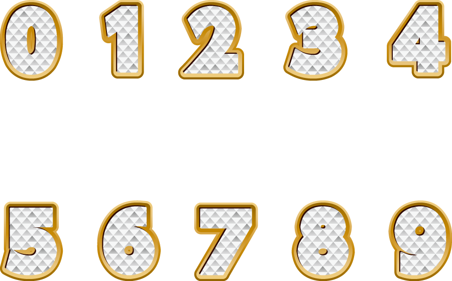 フリーイラスト キラキラ数字のセット