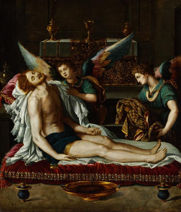 フリー絵画 アレッサンドロ・アッローリ作「二人の天使に聖油を塗られるキリストの体」