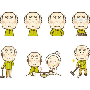 フリーイラスト, 人物, 老人, シニア男性, 祖父(おじいさん), 笑う(笑顔), 怒る, 読む(読書), 新聞, ゲートボール, ティータイム, 祖母(おばあさん), お茶, 緑茶(日本茶), 老眼鏡, 夫婦