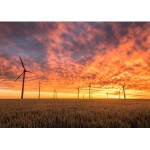 フリー写真, 風景, 機械, 風力発電機, 再生可能エネルギー, 発電, 畑, 夕暮れ(夕方), 夕焼け, 雲, ドイツの風景