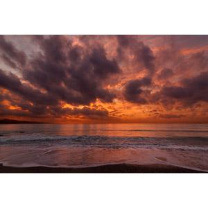 フリー写真, 風景, 自然, 海, 夕暮れ(夕方), 夕焼け, 雲, スペインの風景