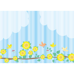 フリーイラスト, ベクター画像, AI, 背景, 植物, 花, 向日葵(ヒマワリ), 小鳥, 雲, 縞模様(ストライプ)