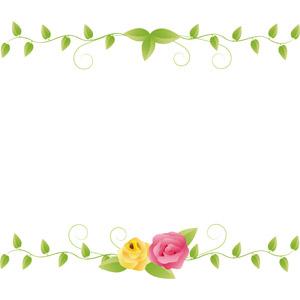 フリーイラスト, ベクター画像, EPS, 背景, フレーム, 上下フレーム, 植物, 薔薇(バラ), 蔦(ツタ)