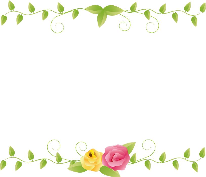 フリーイラスト 薔薇の花と蔦のフレーム