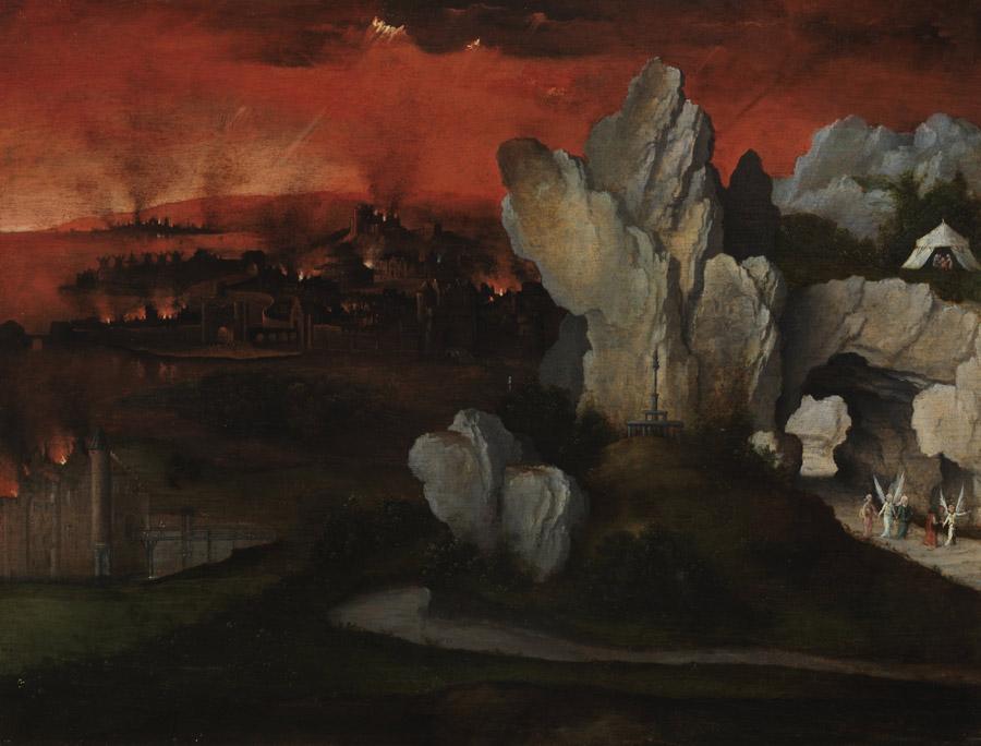 フリー絵画 ヨアヒム・パティニール作「ソドムとゴモラの崩壊のある風景」