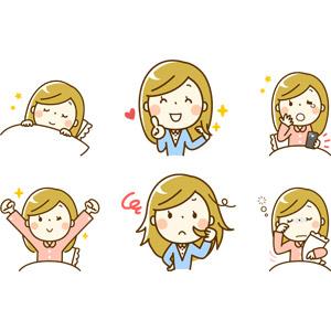 フリーイラスト, 人物, 女性, 女性(00219), 寝る(寝顔), 起床(寝起き), 髪の毛, ヘアケア, 夜更かし, スマートフォン(スマホ), 寝不足, 寝間き(パジャマ)