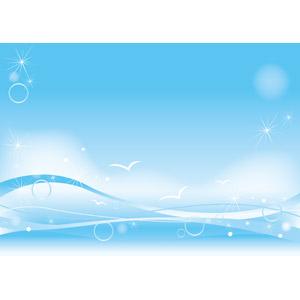 フリーイラスト, ベクター画像, EPS, 背景, 海, 波, 青空, 鴎(カモメ), 青色(ブルー), 夏