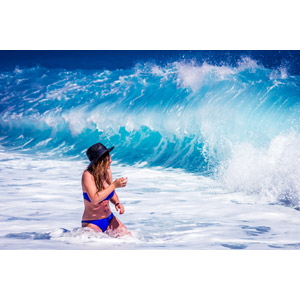 フリー写真, 人物, 女性, 外国人女性, 帽子, 水着, ビキニ, 海水浴, レジャー, 人と風景, 海, 波