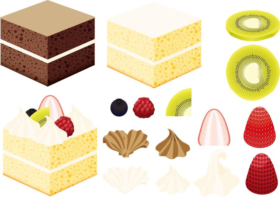 フリーイラスト ケーキのパーツセット
