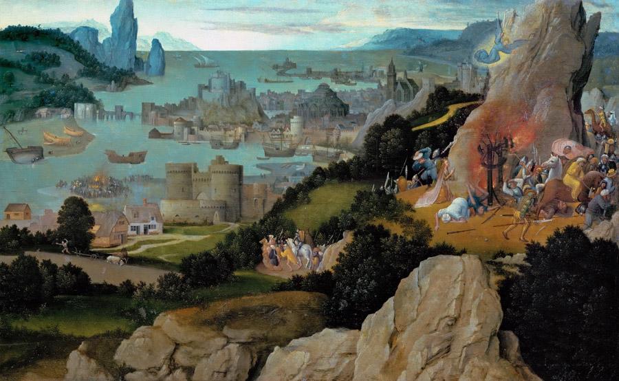 フリー絵画 ヨアヒム・パティニール作「聖カテリーナの殉教」