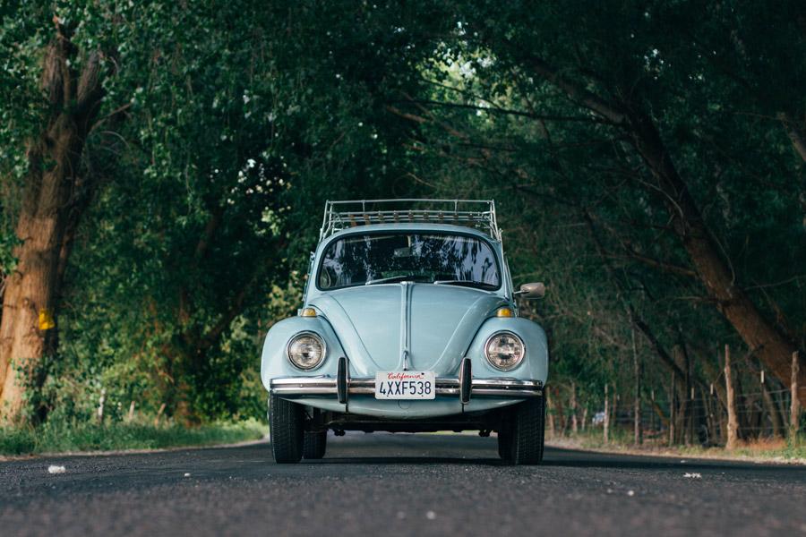 フリー写真 並木道を走るフォルクスワーゲン・ビートル