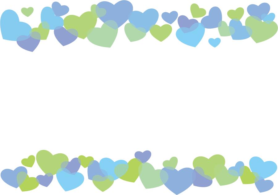 フリーイラスト 寒い色系のハートの飾り枠