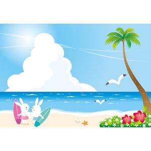 フリーイラスト, ベクター画像, AI, ビーチ(砂浜), 海, 椰子(ヤシ), ハイビスカス, 積乱雲(入道雲), 鴎(カモメ), 兎(ウサギ), カップル(動物), サーフボード