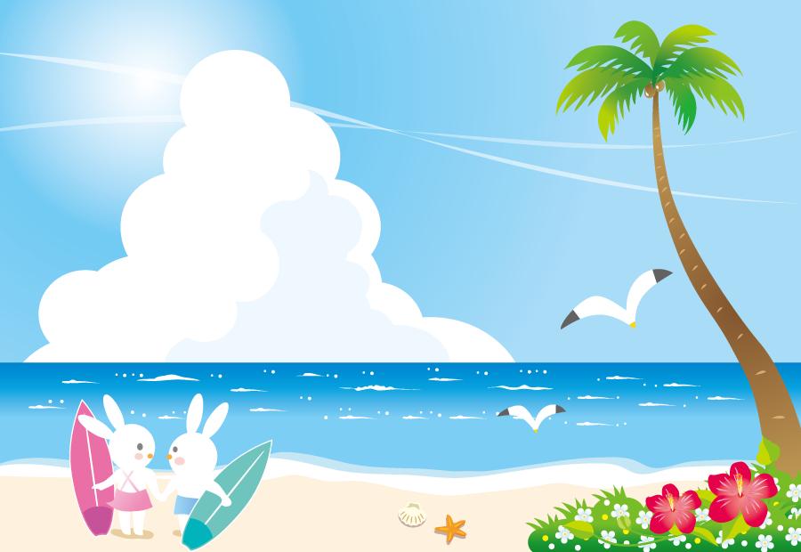 フリーイラスト 海にサーフィンデートに来たウサギのカップル