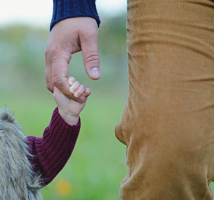 フリー写真 子供と父親のつないだ手