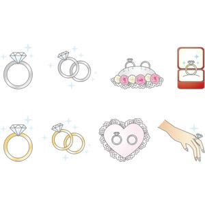 フリーイラスト, ベクター画像, AI, 結婚式(ブライダル), 結婚指輪, 装飾品(アクセサリー), 指輪(リング), 宝石, ダイヤモンド, 人体, 手
