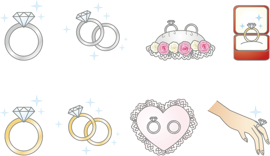 フリーイラスト 8種類の結婚指輪のセット