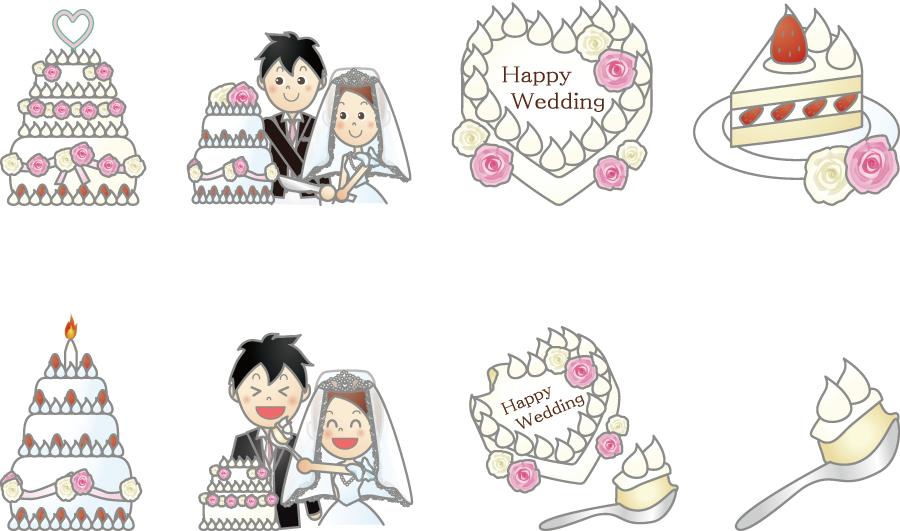 フリーイラスト 8種類のウェディングケーキとケーキ入刀のセット
