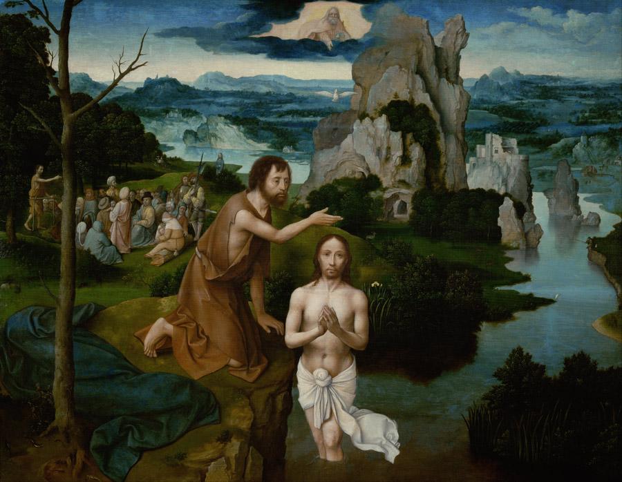 フリー絵画 ヨアヒム・パティニール作「キリストの洗礼」