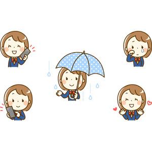 フリーイラスト, 人物, 少女, 学生(生徒), 高校生, 中学生, 学生服, ブレザー制服, スマートフォン(スマホ), 携帯電話, 通話, 雨, 傘, 恋する, 泣く(泣き顔)