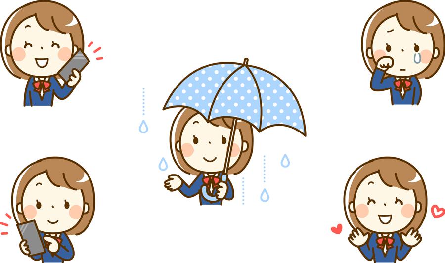 フリーイラスト 傘を差すなどの5種類の女子学生のセット