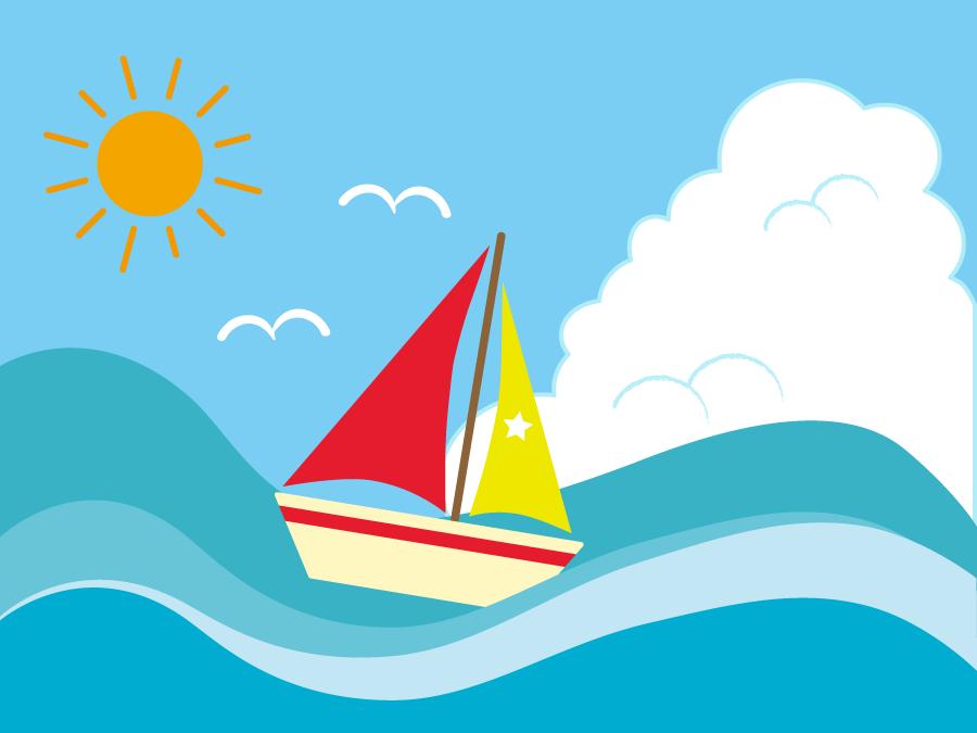 フリーイラスト 夏の海に浮かぶヨット