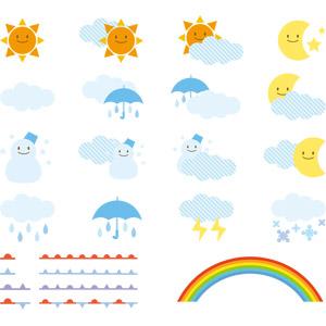 フリーイラスト, ベクター画像, EPS, 天気, 晴れ, 雨, 太陽, 雲, 月, 雲, 曇り, 雪, 雪だるま, 落雷(カミナリ), 虹, 前線