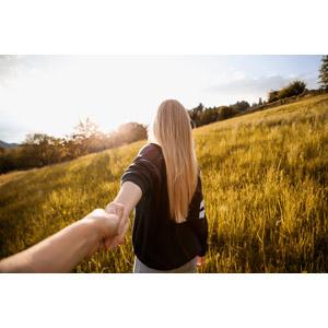 フリー写真, 人物, カップル, 恋人, 後ろ姿, 手を引く, 草むら, 金髪(ブロンド)