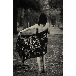フリー写真, 人物, 女性, 後ろ姿, 背中, モノクロ, ブランケット