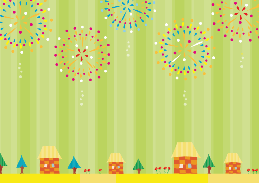 フリーイラスト 打ち上げ花火と街の背景