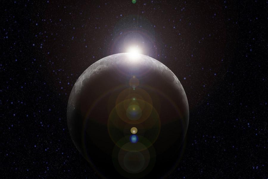 フリーイラスト 宇宙空間の中の太陽の光と月