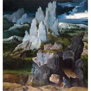 フリー絵画, ヨアヒム・パティニール, 宗教画, キリスト教, ヒエロニムス, ライオン, 岩