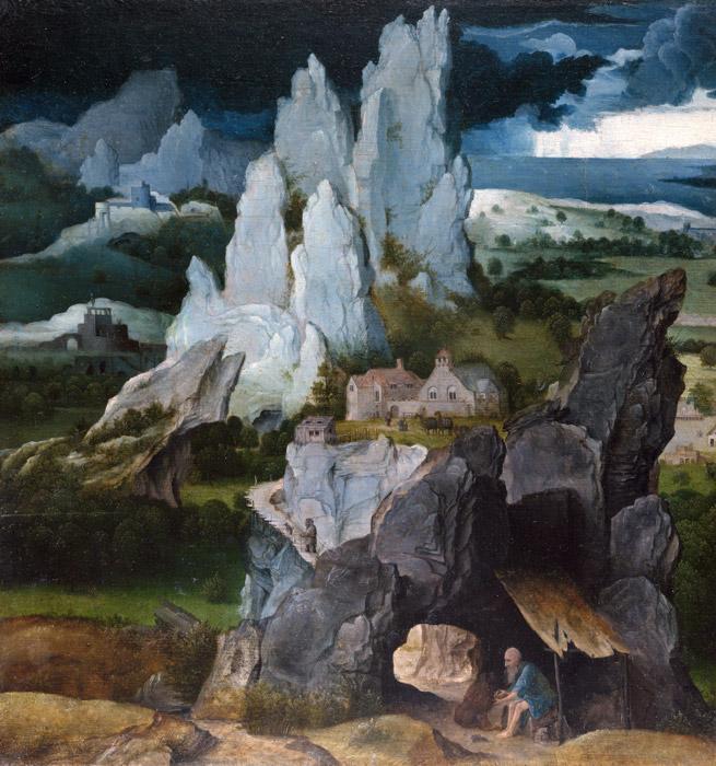フリー絵画 ヨアヒム・パティニール作「風景の中の聖ヒエロニムス」